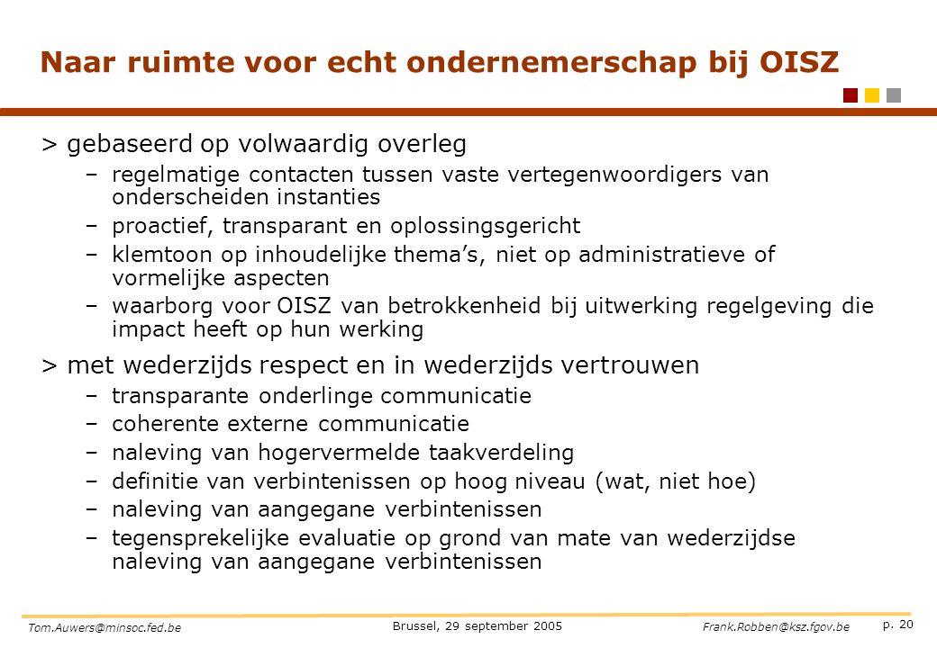 p. 20 Brussel, 29 september 2005 Tom.Auwers@minsoc.fed.be Frank.Robben@ksz.fgov.be Naar ruimte voor echt ondernemerschap bij OISZ >gebaseerd op volwaa