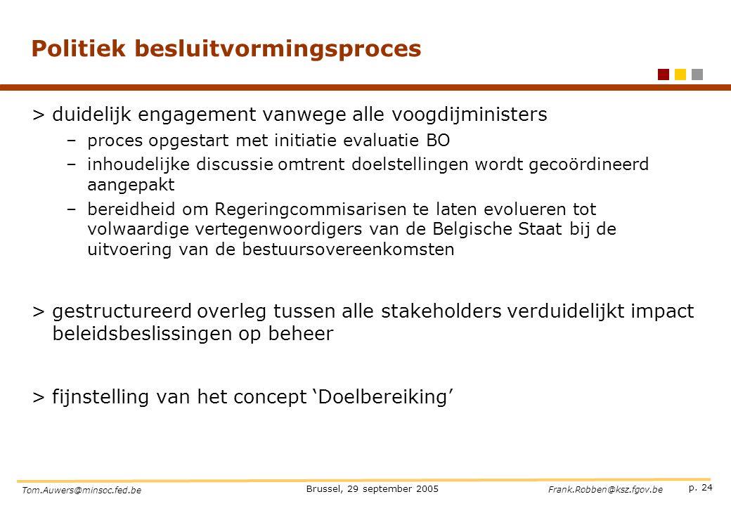 p. 24 Brussel, 29 september 2005 Tom.Auwers@minsoc.fed.be Frank.Robben@ksz.fgov.be Politiek besluitvormingsproces >duidelijk engagement vanwege alle v