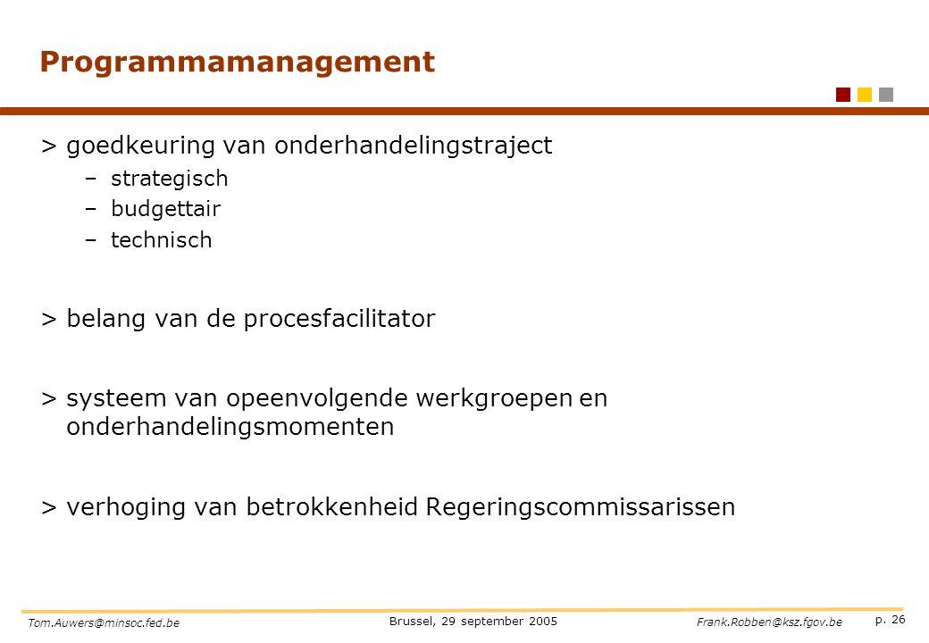 p. 26 Brussel, 29 september 2005 Tom.Auwers@minsoc.fed.be Frank.Robben@ksz.fgov.be Programmamanagement >goedkeuring van onderhandelingstraject –strate