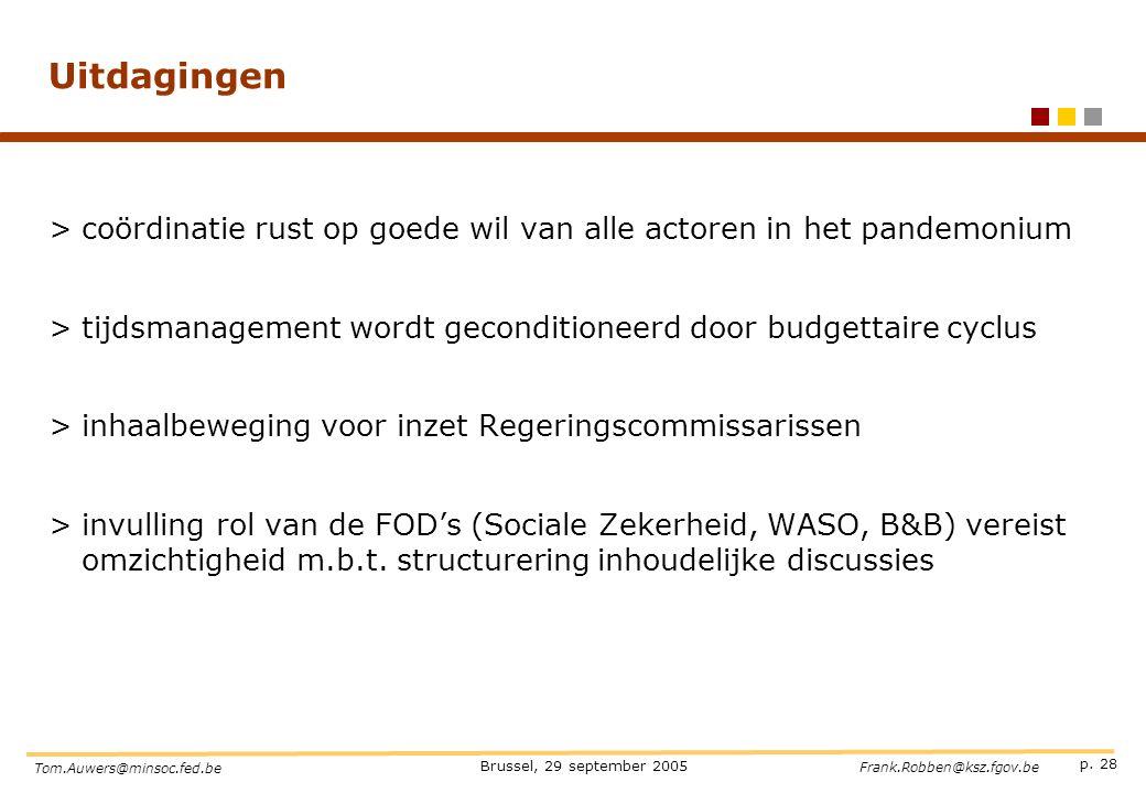 p. 28 Brussel, 29 september 2005 Tom.Auwers@minsoc.fed.be Frank.Robben@ksz.fgov.be Uitdagingen >coördinatie rust op goede wil van alle actoren in het