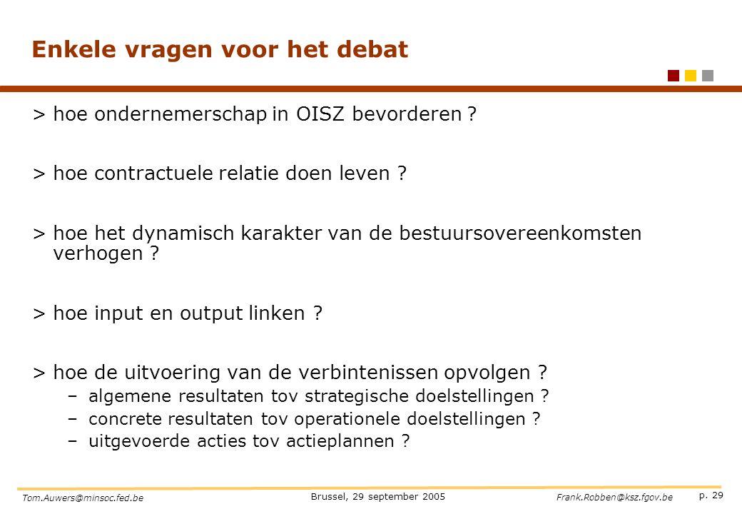 p. 29 Brussel, 29 september 2005 Tom.Auwers@minsoc.fed.be Frank.Robben@ksz.fgov.be Enkele vragen voor het debat >hoe ondernemerschap in OISZ bevordere