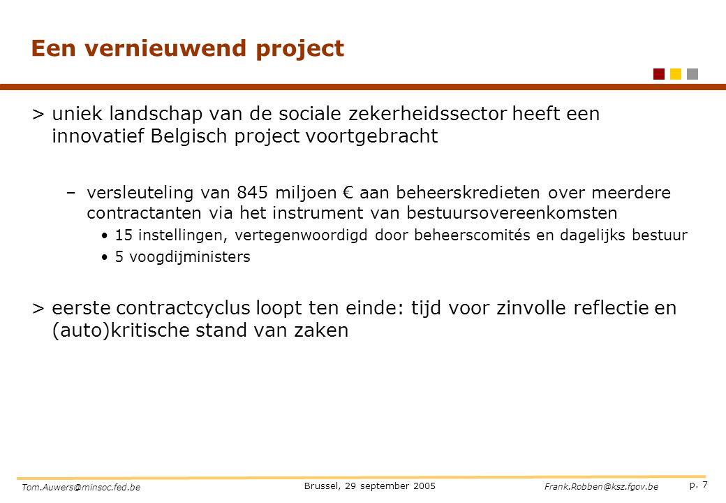 p. 7 Brussel, 29 september 2005 Tom.Auwers@minsoc.fed.be Frank.Robben@ksz.fgov.be Een vernieuwend project >uniek landschap van de sociale zekerheidsse