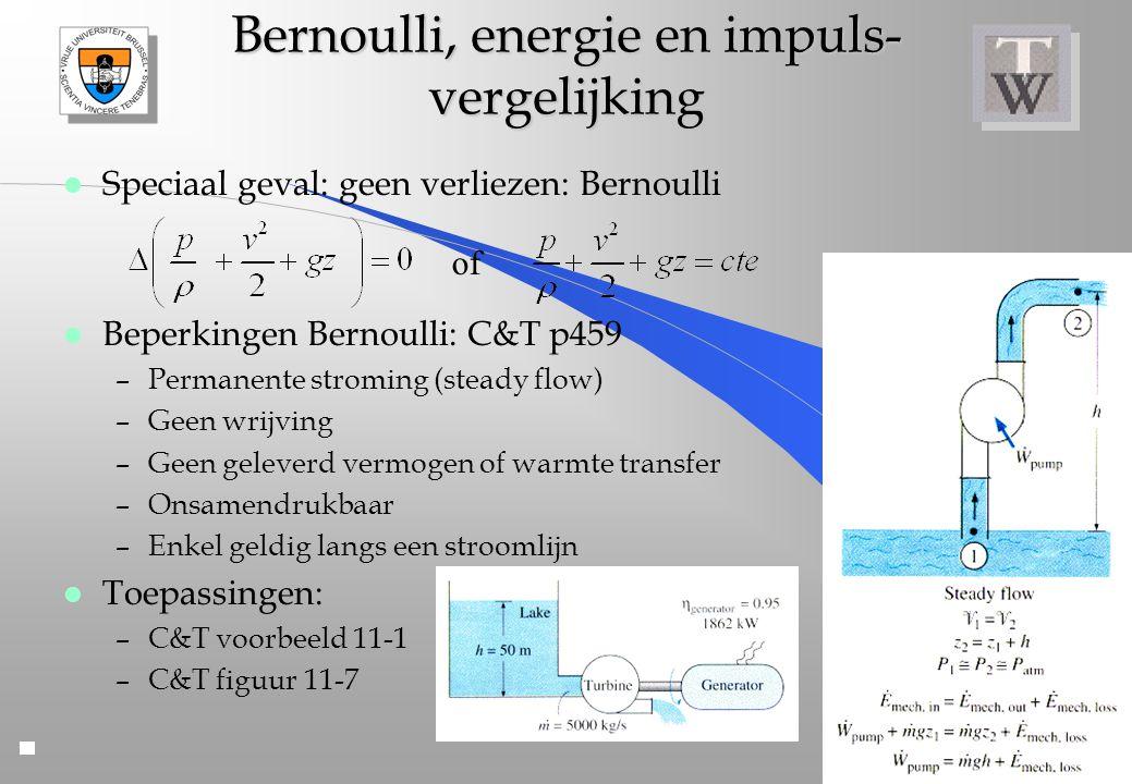 Bernoulli, energie en impuls- vergelijking l Speciaal geval: geen verliezen: Bernoulli l Beperkingen Bernoulli: C&T p459 –Permanente stroming (steady
