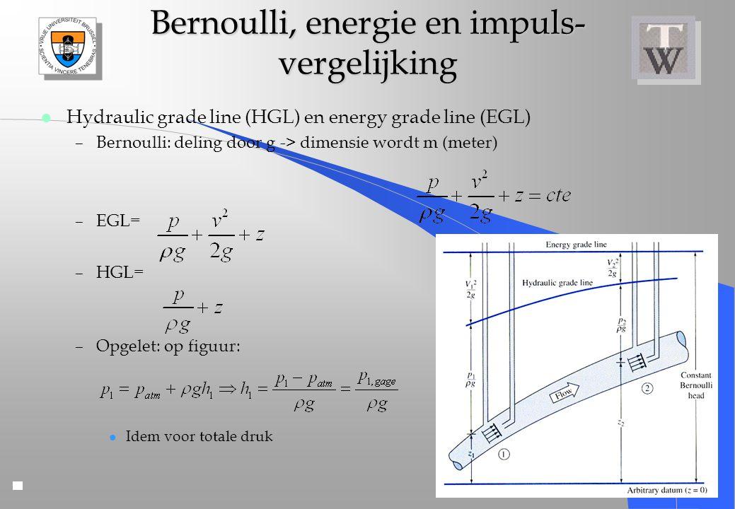 Bernoulli, energie en impuls- vergelijking l Hydraulic grade line (HGL) en energy grade line (EGL) –Bernoulli: deling door g -> dimensie wordt m (mete