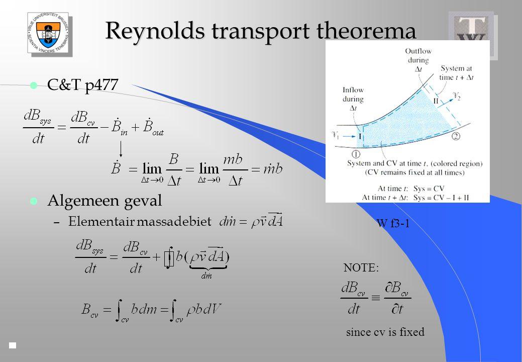 Reynolds transport theorema l C&T p477 l Algemeen geval –Elementair massadebiet W f3-1 NOTE: since cv is fixed