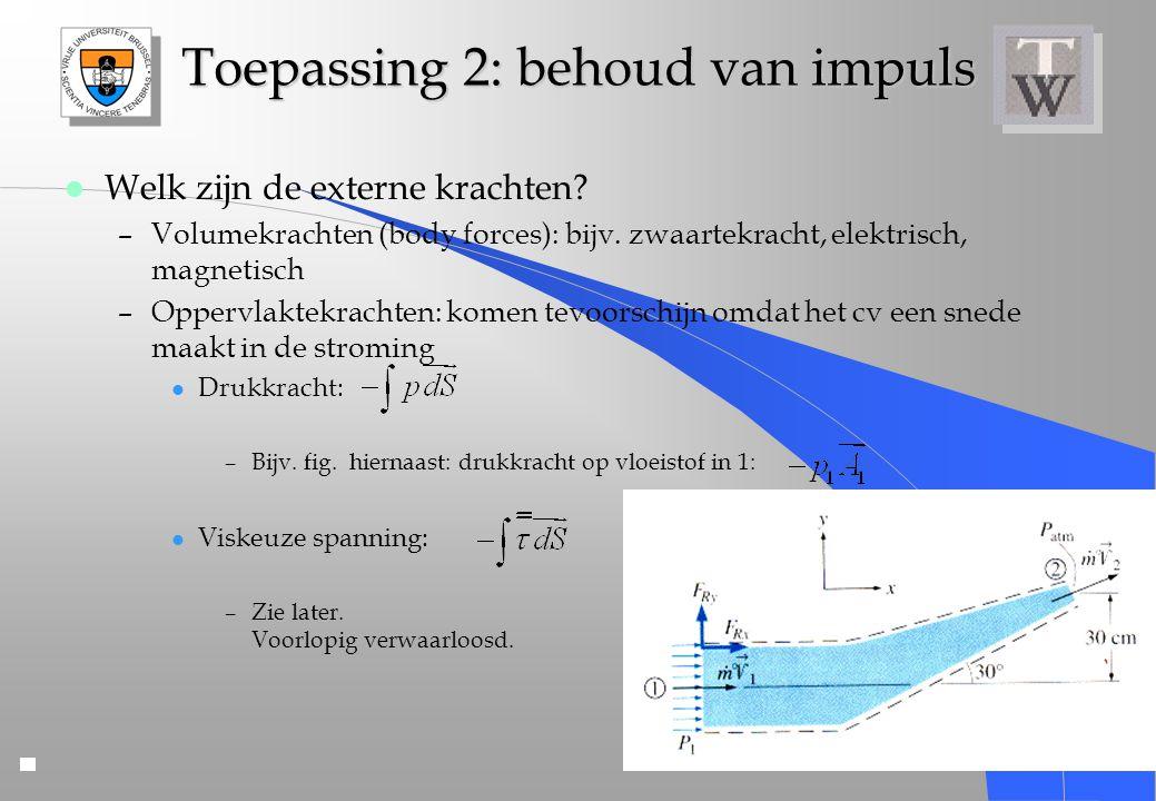 Toepassing 2: behoud van impuls l Welk zijn de externe krachten? –Volumekrachten (body forces): bijv. zwaartekracht, elektrisch, magnetisch –Oppervlak