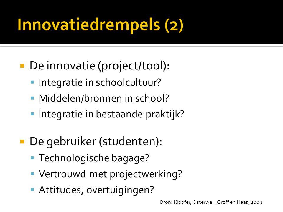  De innovatie (project/tool):  Integratie in schoolcultuur?  Middelen/bronnen in school?  Integratie in bestaande praktijk?  De gebruiker (studen