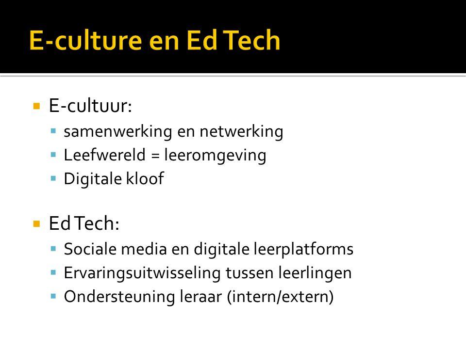  E-cultuur:  samenwerking en netwerking  Leefwereld = leeromgeving  Digitale kloof  Ed Tech:  Sociale media en digitale leerplatforms  Ervaringsuitwisseling tussen leerlingen  Ondersteuning leraar (intern/extern)