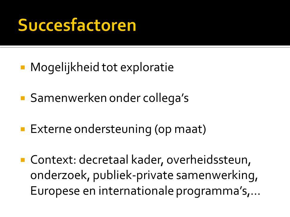  Mogelijkheid tot exploratie  Samenwerken onder collega's  Externe ondersteuning (op maat)  Context: decretaal kader, overheidssteun, onderzoek, p