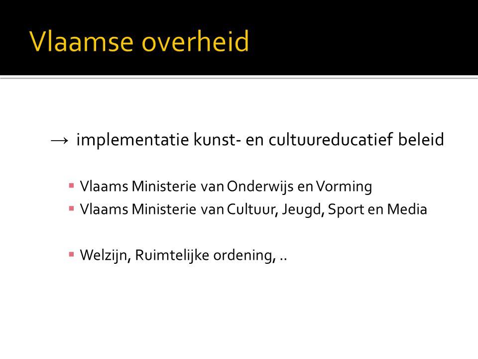 → implementatie kunst- en cultuureducatief beleid  Vlaams Ministerie van Onderwijs en Vorming  Vlaams Ministerie van Cultuur, Jeugd, Sport en Media