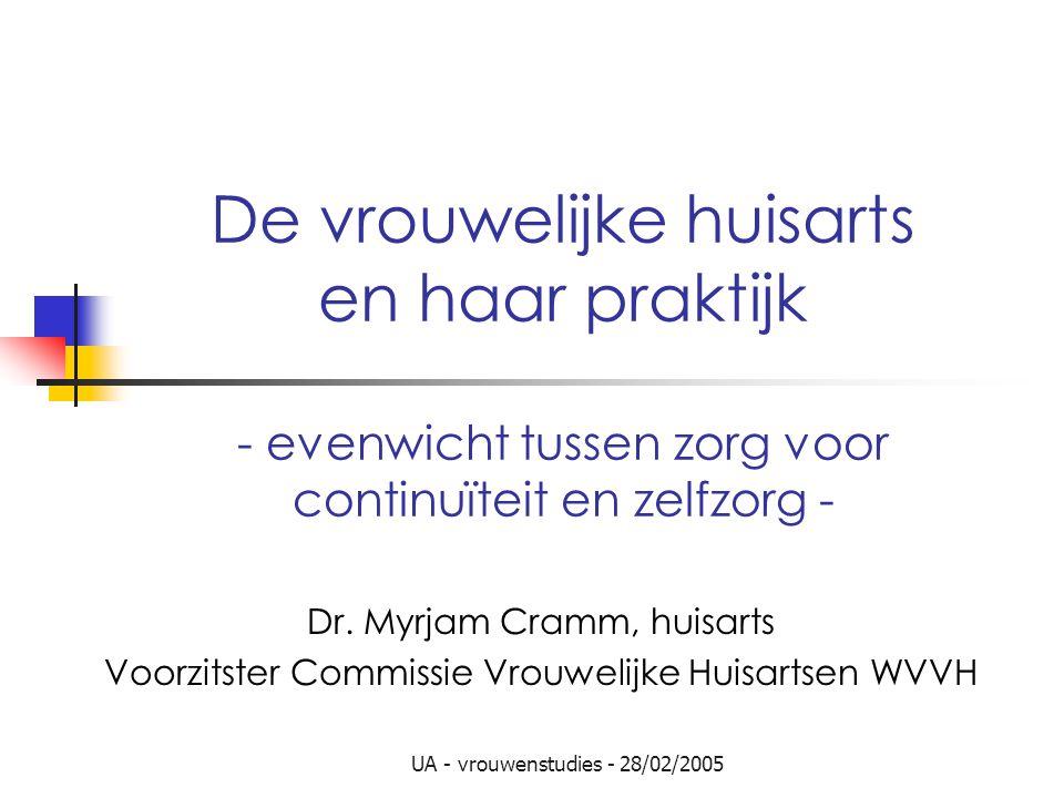 UA - vrouwenstudies - 28/02/2005 De vrouwelijke huisarts en haar praktijk - evenwicht tussen zorg voor continuïteit en zelfzorg - Dr. Myrjam Cramm, hu