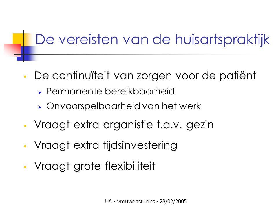 UA - vrouwenstudies - 28/02/2005 De vereisten van de huisartspraktijk  De continuïteit van zorgen voor de patiënt  Permanente bereikbaarheid  Onvoo