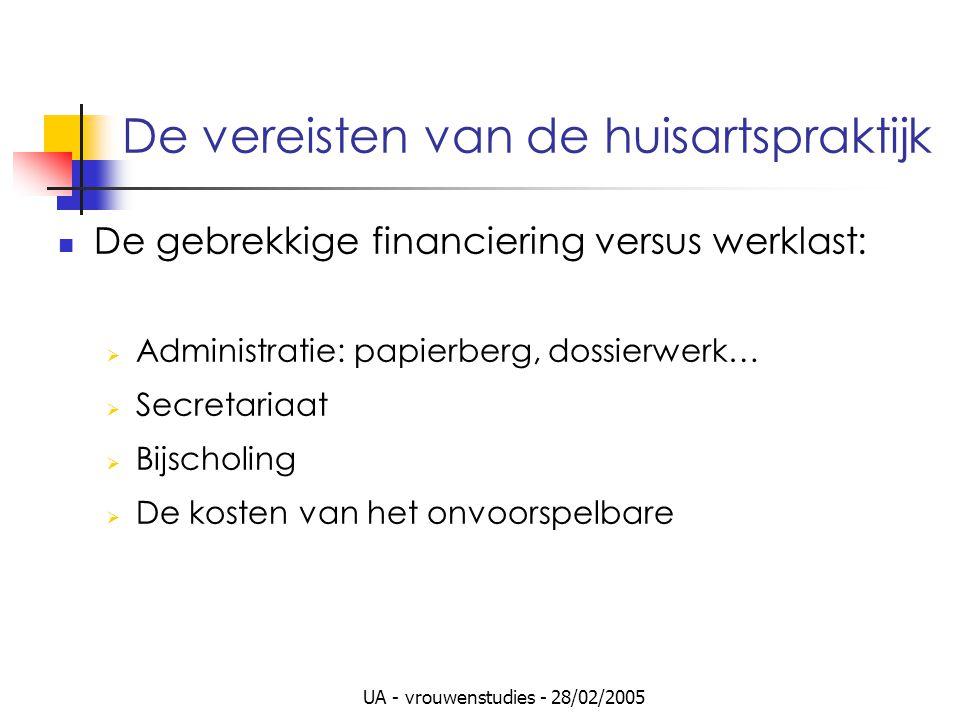 UA - vrouwenstudies - 28/02/2005 De vereisten van de huisartspraktijk De gebrekkige financiering versus werklast:  Administratie: papierberg, dossier