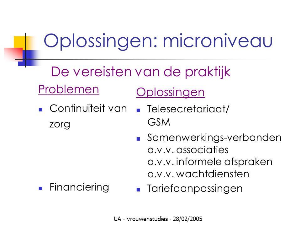 UA - vrouwenstudies - 28/02/2005 Oplossingen: microniveau Problemen Continuïteit van zorg Financiering Oplossingen Telesecretariaat/ GSM Samenwerkings-verbanden o.v.v.
