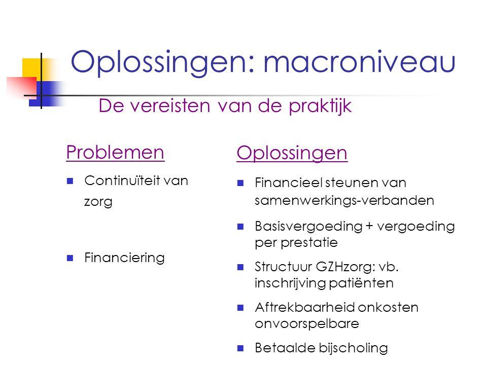 Oplossingen: macroniveau De vereisten van de praktijk Problemen Continuïteit van zorg Financiering Oplossingen Financieel steunen van samenwerkings-verbanden Basisvergoeding + vergoeding per prestatie Structuur GZHzorg: vb.
