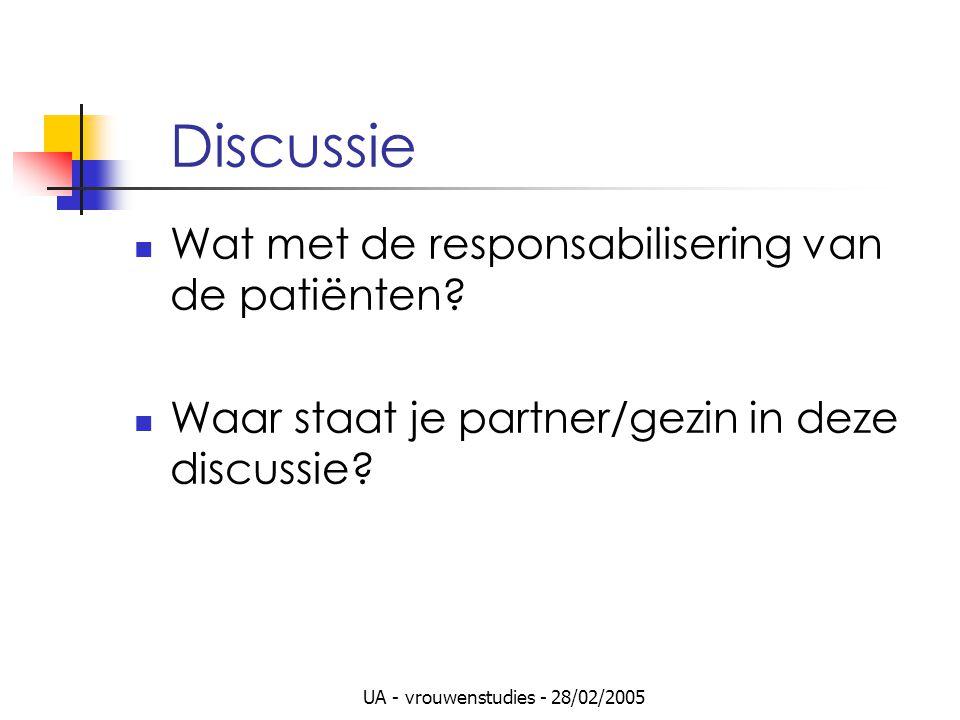 UA - vrouwenstudies - 28/02/2005 Discussie Wat met de responsabilisering van de patiënten? Waar staat je partner/gezin in deze discussie?