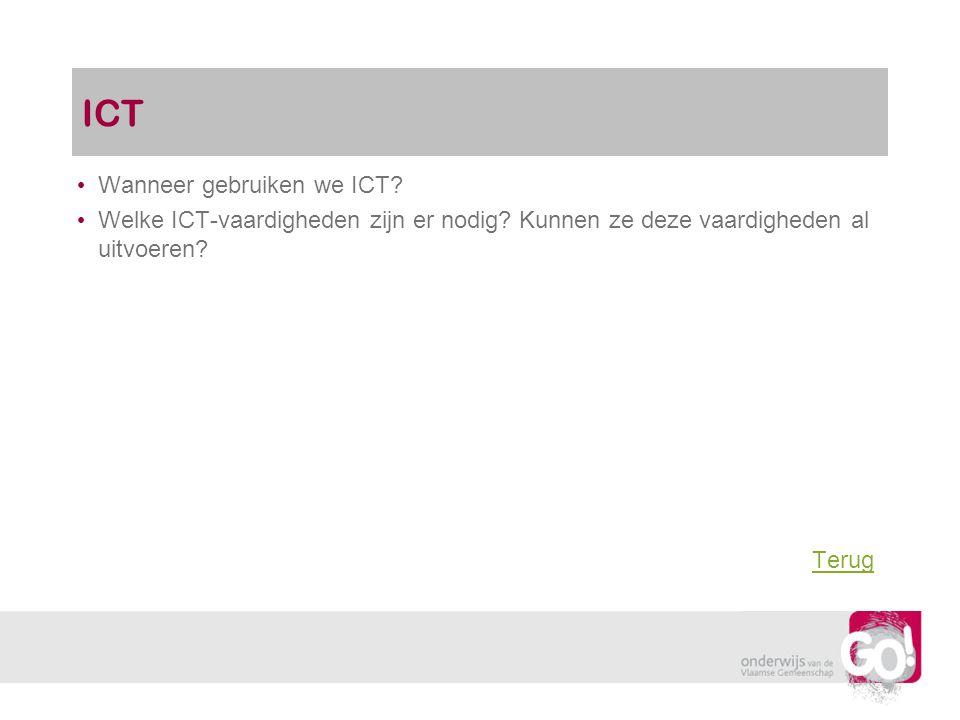 ICT Wanneer gebruiken we ICT? Welke ICT-vaardigheden zijn er nodig? Kunnen ze deze vaardigheden al uitvoeren? Terug