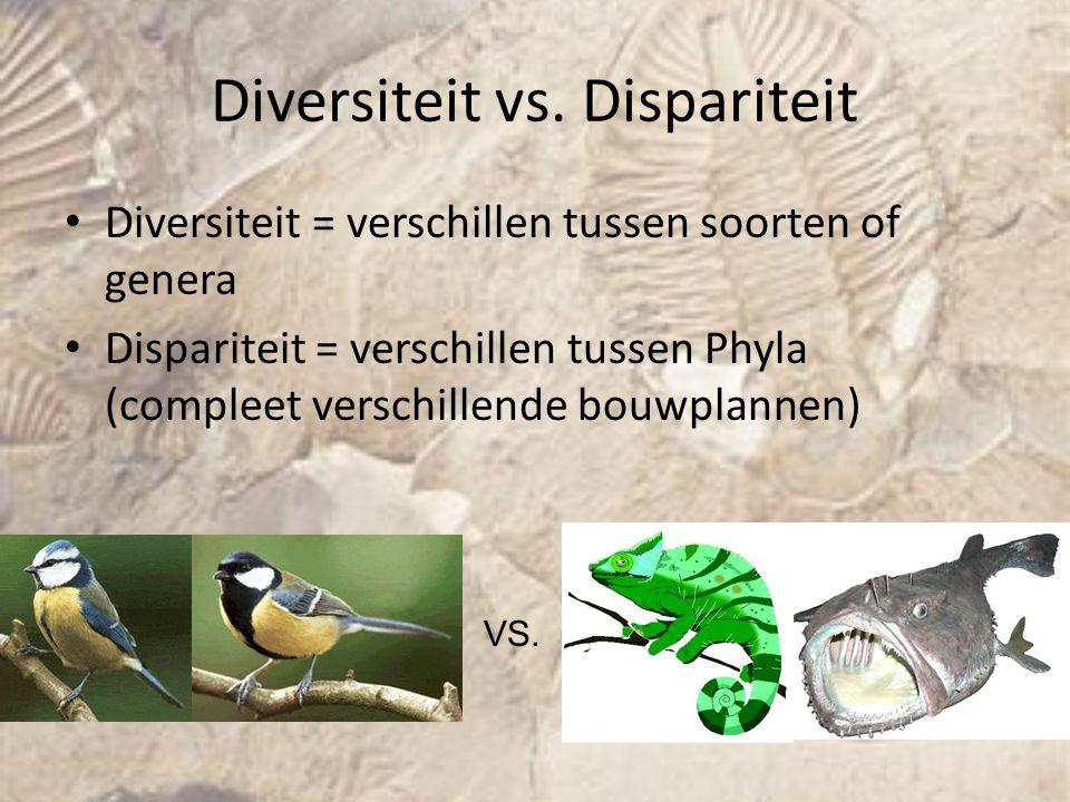 Diversiteit vs. Dispariteit Diversiteit = verschillen tussen soorten of genera Dispariteit = verschillen tussen Phyla (compleet verschillende bouwplan
