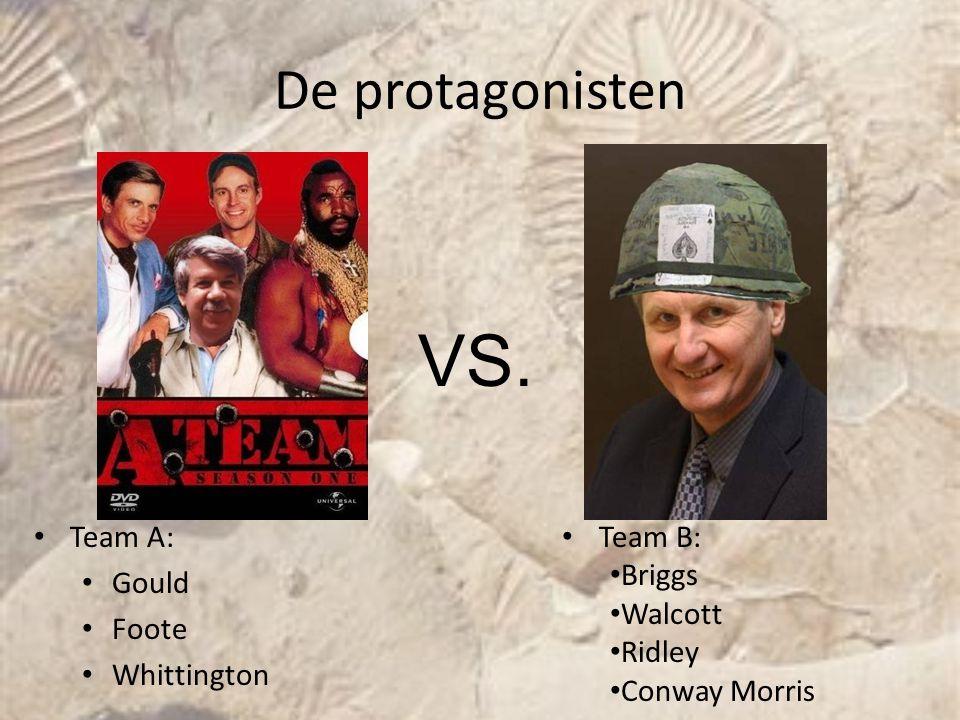 De protagonisten Team A: Gould Foote Whittington VS. Team B: Briggs Walcott Ridley Conway Morris