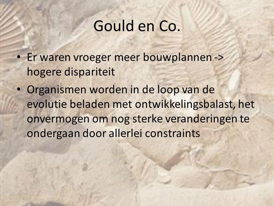 Gould en Co. Er waren vroeger meer bouwplannen -> hogere dispariteit Organismen worden in de loop van de evolutie beladen met ontwikkelingsbalast, het