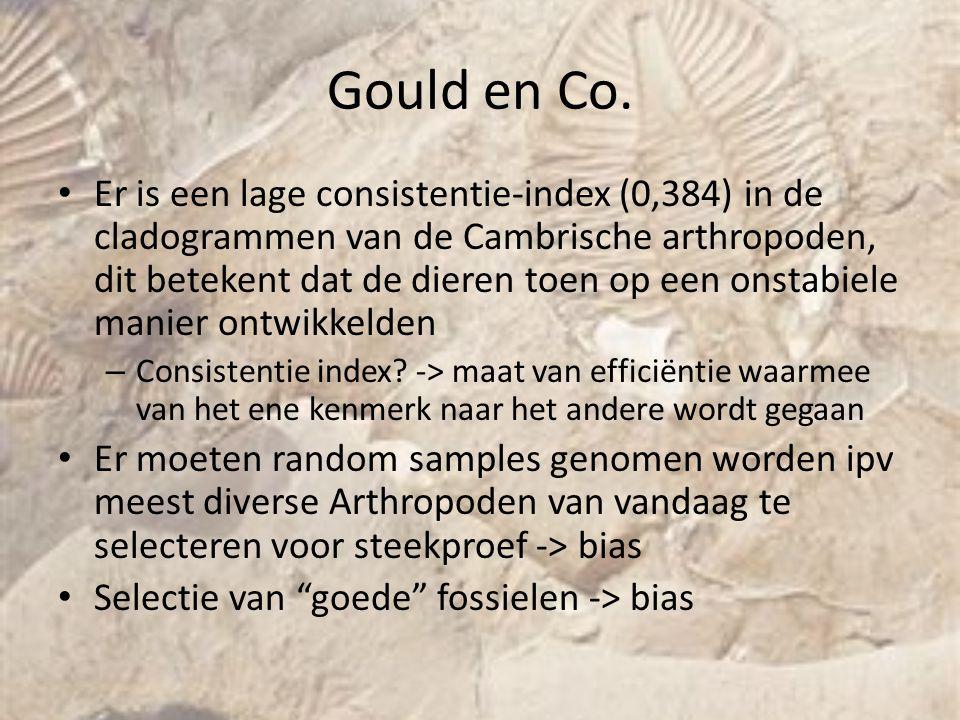 Gould en Co. Er is een lage consistentie-index (0,384) in de cladogrammen van de Cambrische arthropoden, dit betekent dat de dieren toen op een onstab