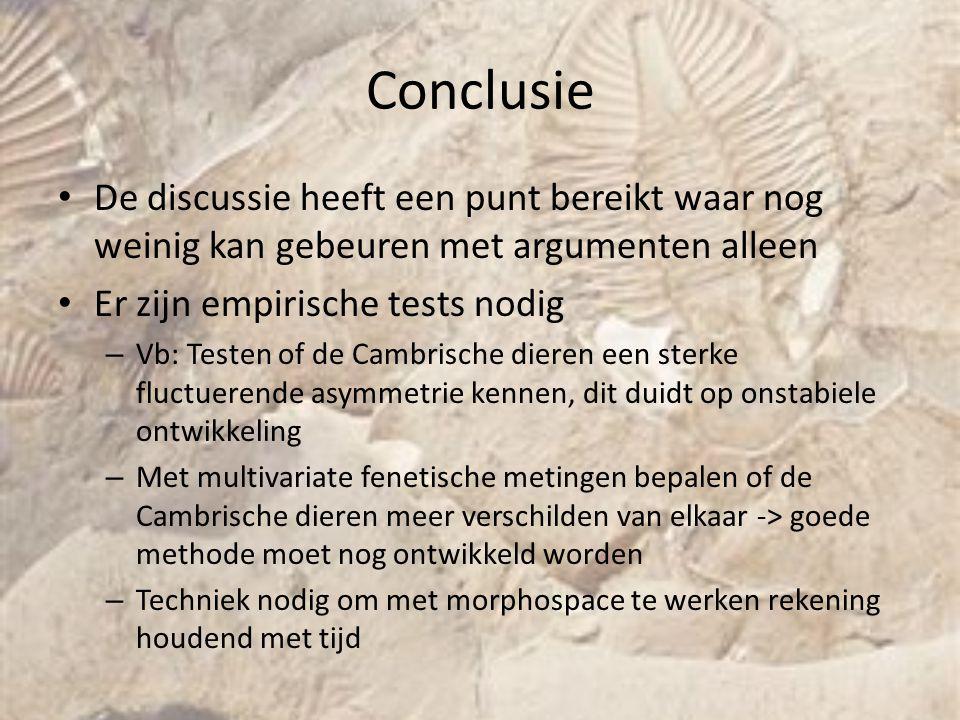 Conclusie De discussie heeft een punt bereikt waar nog weinig kan gebeuren met argumenten alleen Er zijn empirische tests nodig – Vb: Testen of de Cam