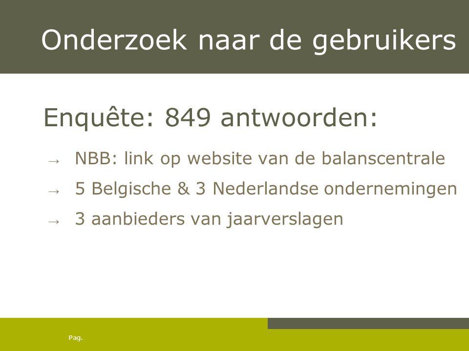 Pag. Onderzoek naar de gebruikers Enquête: 849 antwoorden: → NBB: link op website van de balanscentrale → 5 Belgische & 3 Nederlandse ondernemingen →