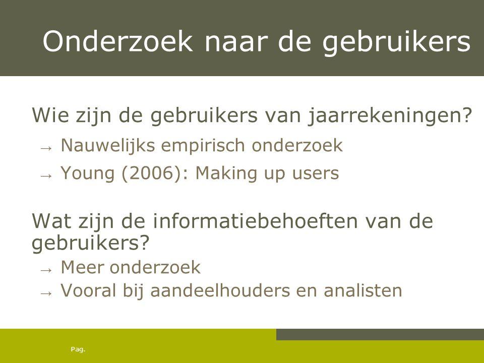 Pag. Onderzoek naar de gebruikers Wie zijn de gebruikers van jaarrekeningen? → Nauwelijks empirisch onderzoek → Young (2006): Making up users Wat zijn