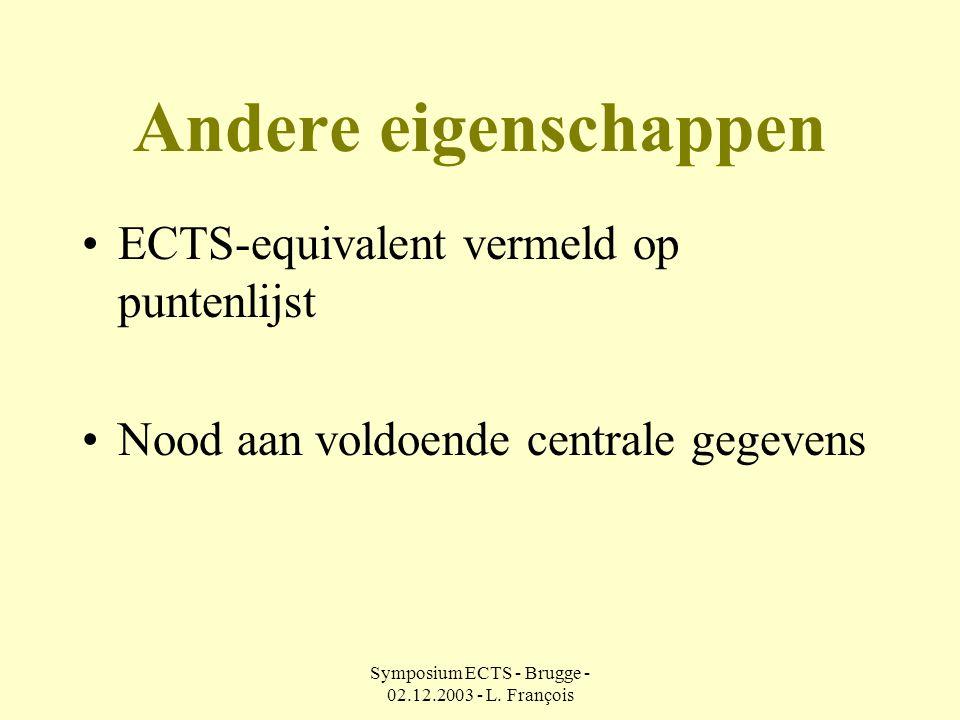 Symposium ECTS - Brugge - 02.12.2003 - L.
