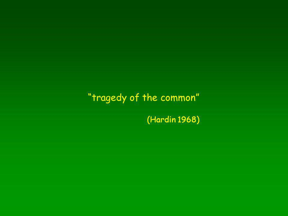 """""""tragedy of the common"""" (Hardin 1968)"""