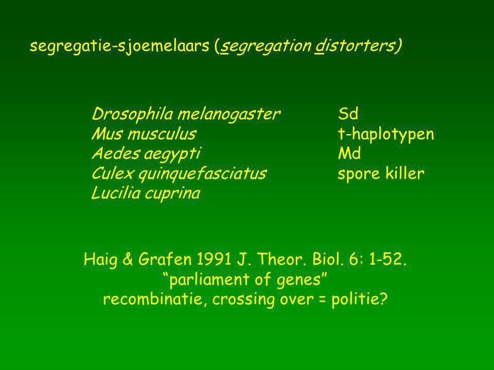 segregatie-sjoemelaars (segregation distorters) Drosophila melanogasterSd Mus musculust-haplotypen Aedes aegyptiMd Culex quinquefasciatusspore killer