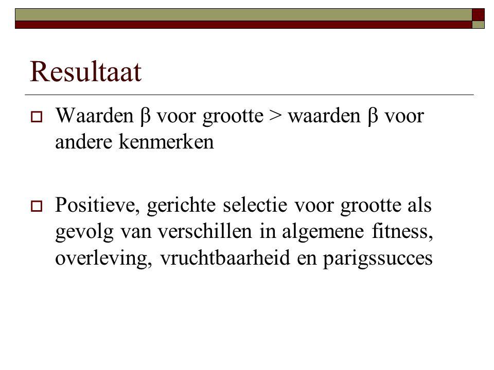 Resultaat  Waarden β voor grootte > waarden β voor andere kenmerken  Positieve, gerichte selectie voor grootte als gevolg van verschillen in algemene fitness, overleving, vruchtbaarheid en parigssucces