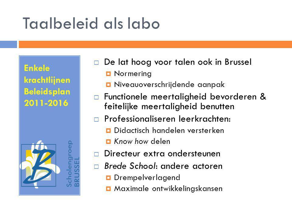 Taalbeleid als labo Enkele krachtlijnen Beleidsplan 2011-2016  De lat hoog voor talen ook in Brussel  Normering  Niveauoverschrijdende aanpak  Fun