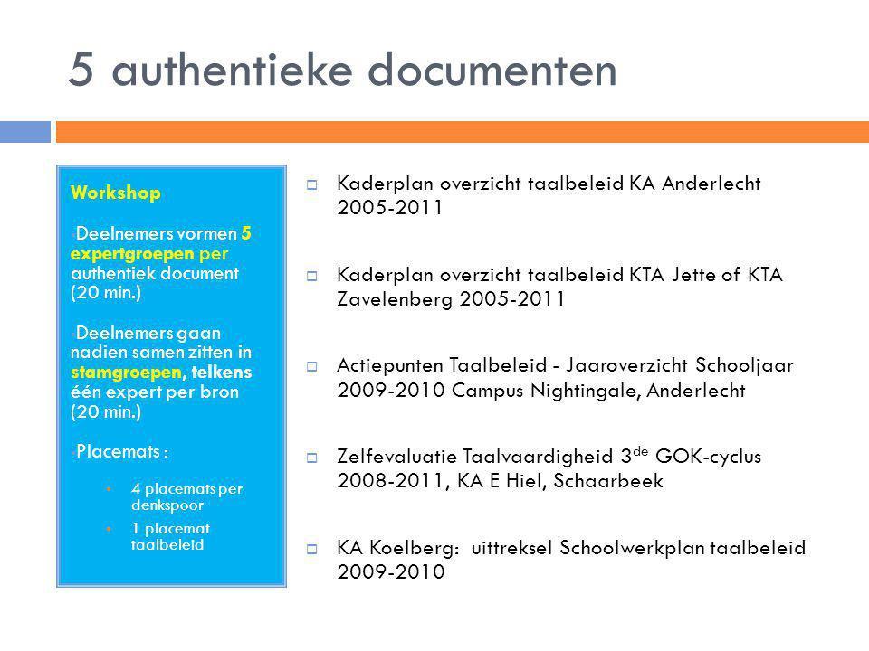 5 authentieke documenten Workshop  Deelnemers vormen 5 expertgroepen per authentiek document (20 min.)  Deelnemers gaan nadien samen zitten in stamg