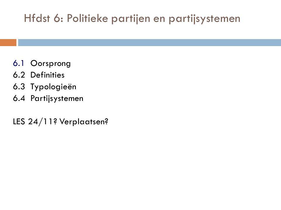 Hfdst 6: Politieke partijen en partijsystemen 6.1 Oorsprong 6.2 Definities 6.3 Typologieën 6.4 Partijsystemen LES 24/11? Verplaatsen?
