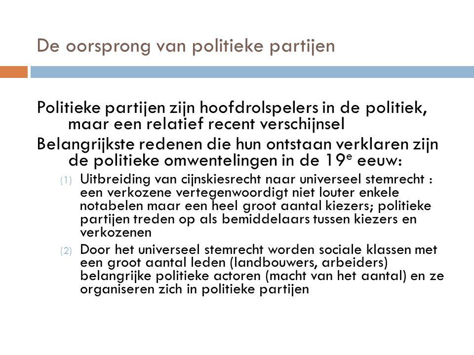 De oorsprong van politieke partijen Politieke partijen zijn hoofdrolspelers in de politiek, maar een relatief recent verschijnsel Belangrijkste redene