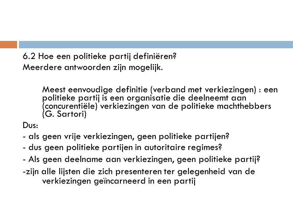 6.2 Hoe een politieke partij definiëren? Meerdere antwoorden zijn mogelijk. Meest eenvoudige definitie (verband met verkiezingen) : een politieke part