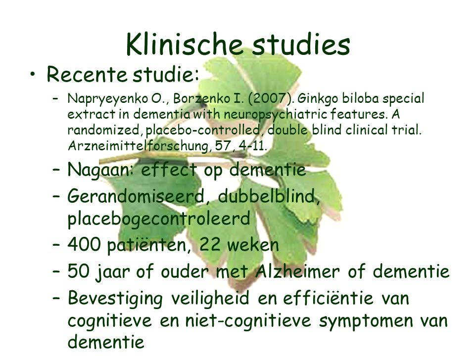 Klinische studies Recente studie: –Napryeyenko O., Borzenko I.