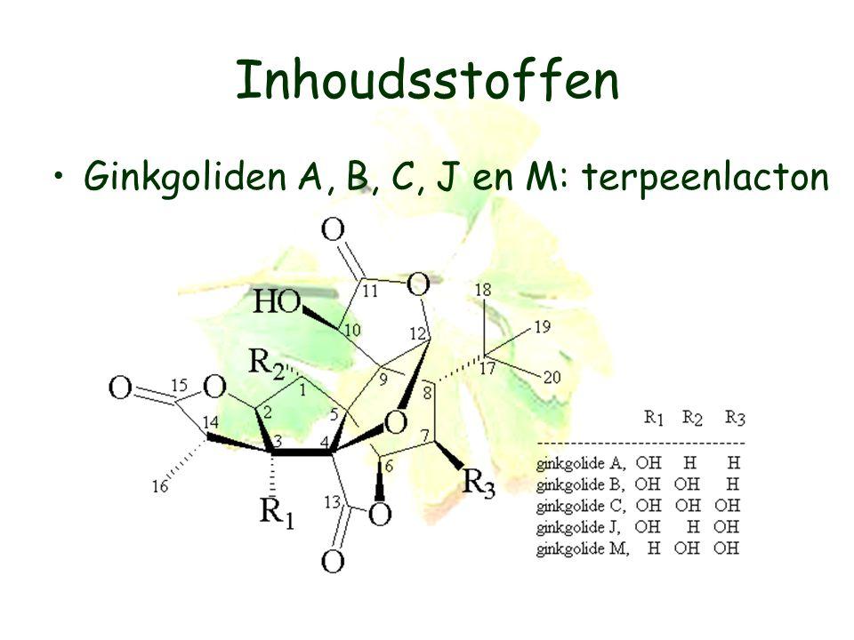Inhoudsstoffen Ginkgoliden A, B, C, J en M: terpeenlacton
