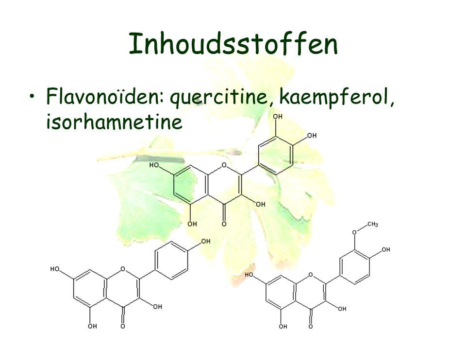 Inhoudsstoffen Flavonoïden: quercitine, kaempferol, isorhamnetine