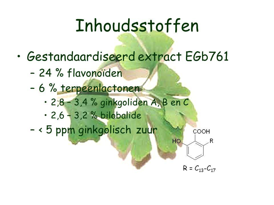 Inhoudsstoffen Gestandaardiseerd extract EGb761 –24 % flavonoïden –6 % terpeenlactonen 2,8 – 3,4 % ginkgoliden A, B en C 2,6 – 3,2 % bilobalide –< 5 ppm ginkgolisch zuur R = C 13 -C 17