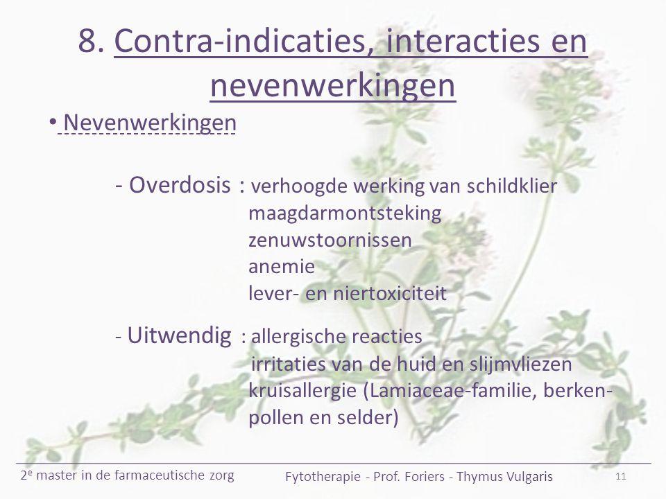 8. Contra-indicaties, interacties en nevenwerkingen 11 Fytotherapie - Prof. Foriers - Thymus Vulgaris 2 e master in de farmaceutische zorg Nevenwerkin