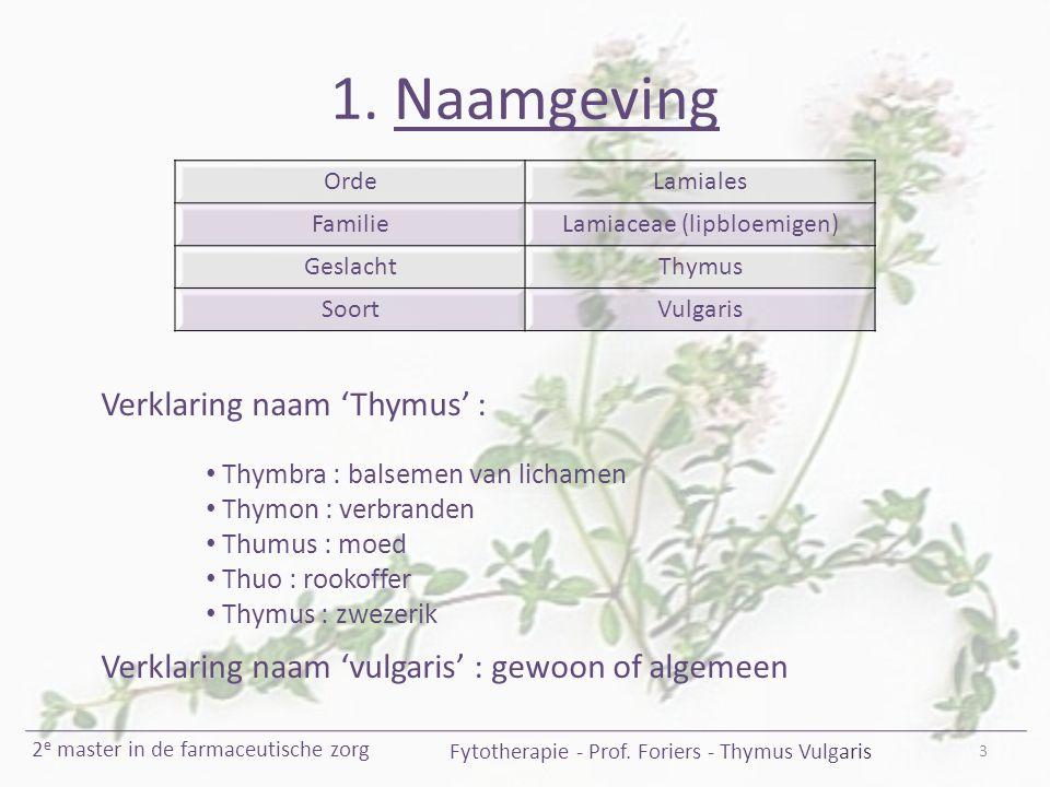 1. Naamgeving 3 Fytotherapie - Prof. Foriers - Thymus Vulgaris 2 e master in de farmaceutische zorg OrdeLamiales FamilieLamiaceae (lipbloemigen) Gesla