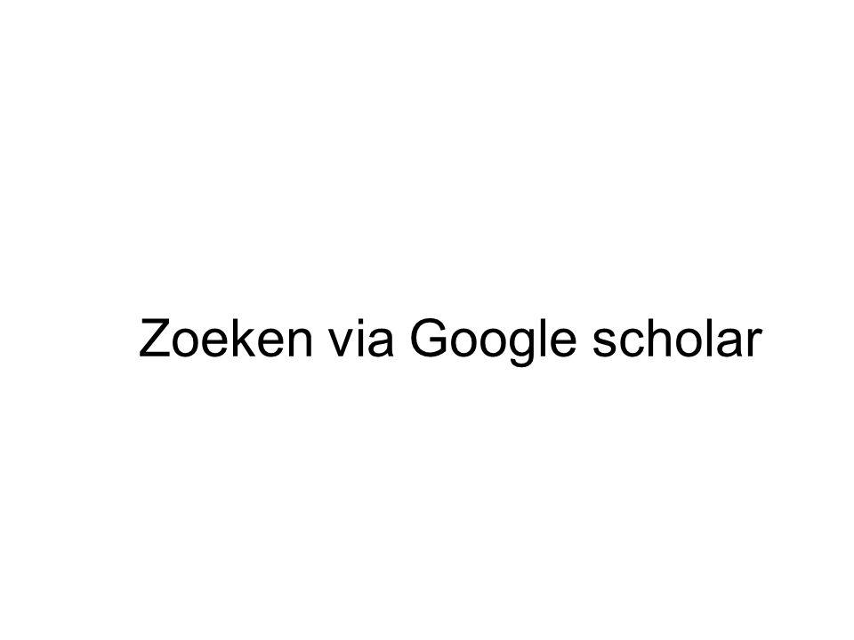 Zoeken via Google scholar