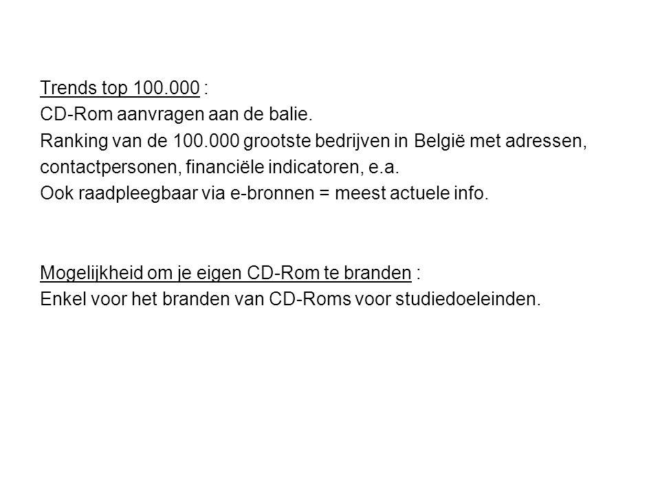 Trends top 100.000 : CD-Rom aanvragen aan de balie.