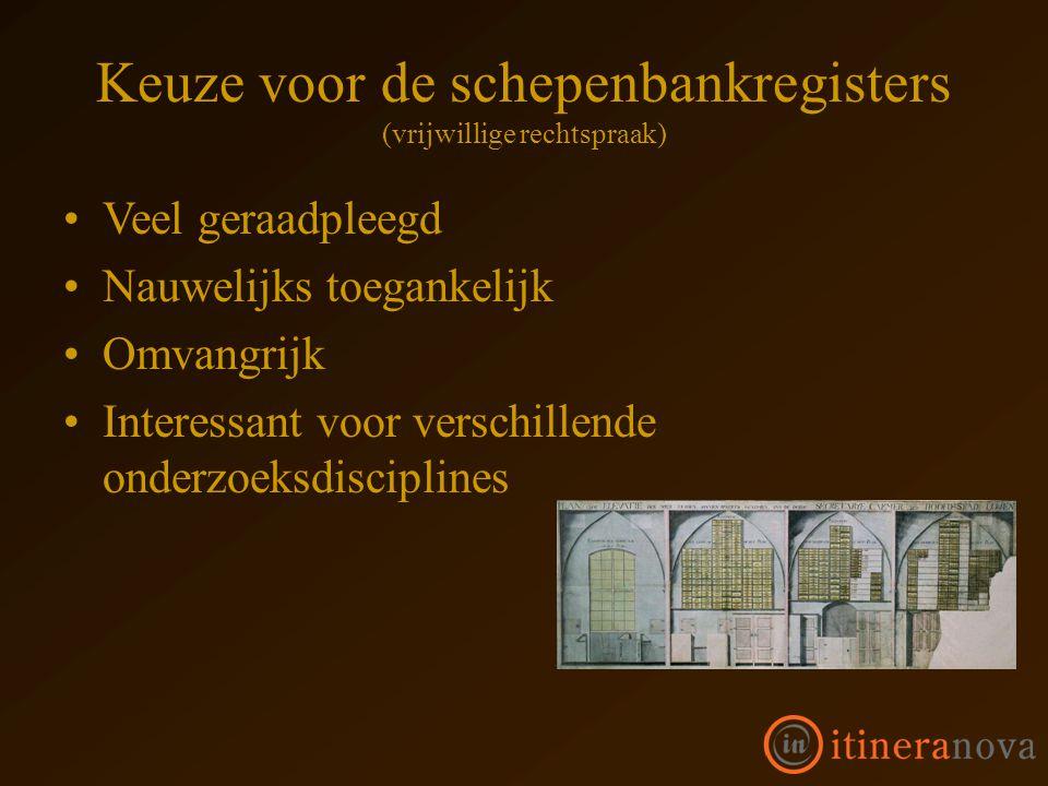 Keuze voor de schepenbankregisters (vrijwillige rechtspraak) Veel geraadpleegd Nauwelijks toegankelijk Omvangrijk Interessant voor verschillende onderzoeksdisciplines
