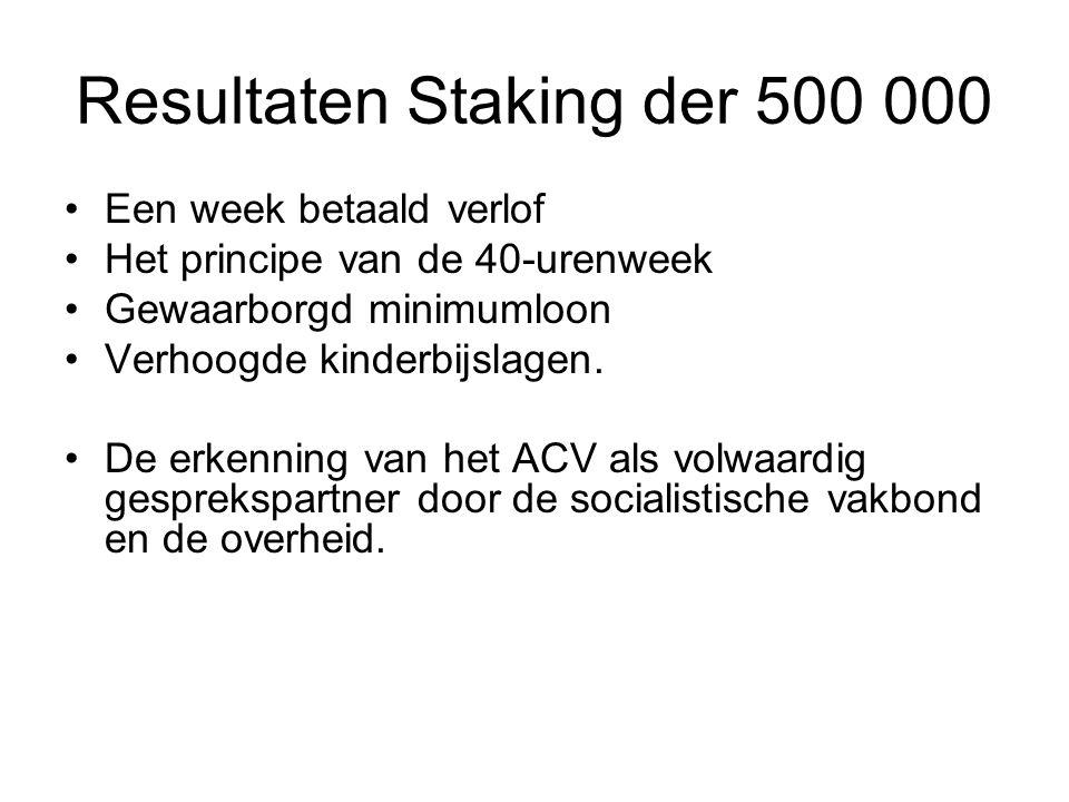 Resultaten Staking der 500 000 Een week betaald verlof Het principe van de 40-urenweek Gewaarborgd minimumloon Verhoogde kinderbijslagen. De erkenning