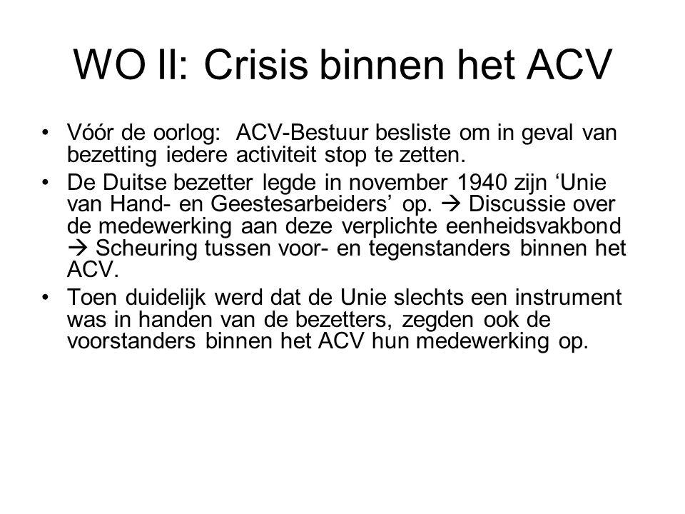 WO II: Crisis binnen het ACV Vóór de oorlog: ACV-Bestuur besliste om in geval van bezetting iedere activiteit stop te zetten. De Duitse bezetter legde