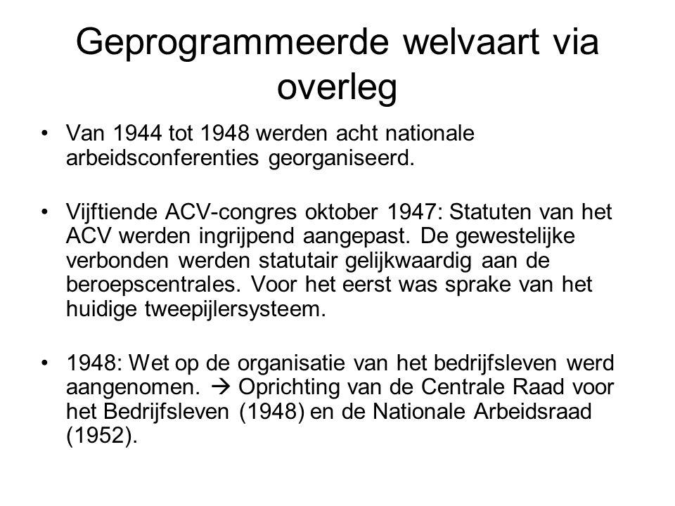 Geprogrammeerde welvaart via overleg Van 1944 tot 1948 werden acht nationale arbeidsconferenties georganiseerd.