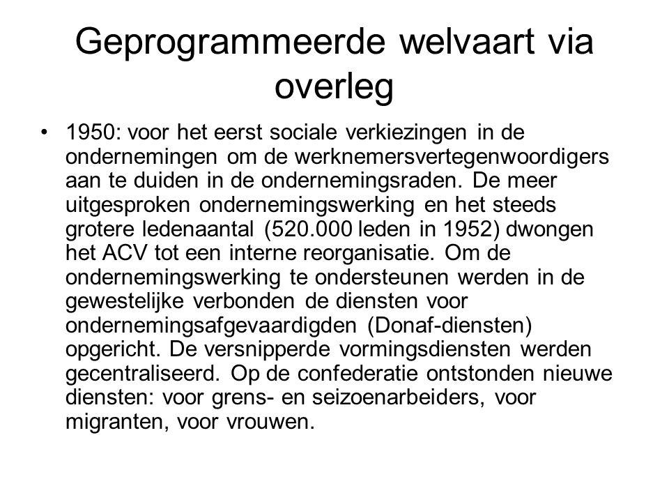 Geprogrammeerde welvaart via overleg 1950: voor het eerst sociale verkiezingen in de ondernemingen om de werknemersvertegenwoordigers aan te duiden in de ondernemingsraden.